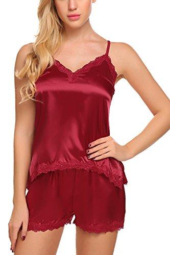 ADOME Womens Camisole Short Set 2 Pieces Satin Pajamas Irregular Chemise Sleepwear,Style 1:dark Red,XX-Large by ADOME (Image #2)