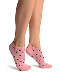 Black Polka Dot On Pink Footies Socks - Footsies Socks