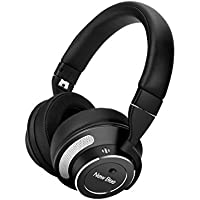 LESHP Active Noise Cancelling Bluetooth Headphone Over-ear Wireless Stereo Headset Wired Through 3.5mm Male Audio Cable for TV Sports Plane Travel with Built-in Mic