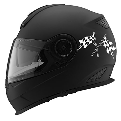 Crossed Checkered Racing Flags Auto Car Racing Motorcycle Helmet Decal - 5