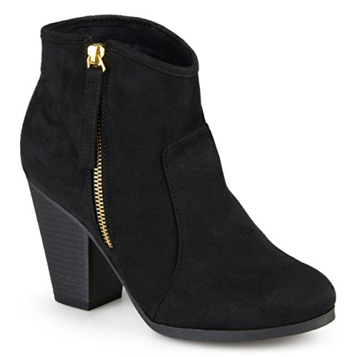- Journee Collection Women's High Heel Faux Suede Ankle Boots Black, 6.5 Wide Width US
