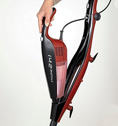 Ariete Evo 2 en 1 2764 - Aspirador Escoba de Mano con Cable, Ciclónico, 600 W, Filtro Hepa, Color Negro y Rojo: Amazon.es: Hogar
