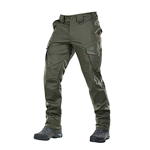 Cotton Cargo Pocket Pants - Aggressor Flex - Tactical Pants - Men Cotton Cargo Pockets (Army Olive, XL/R)
