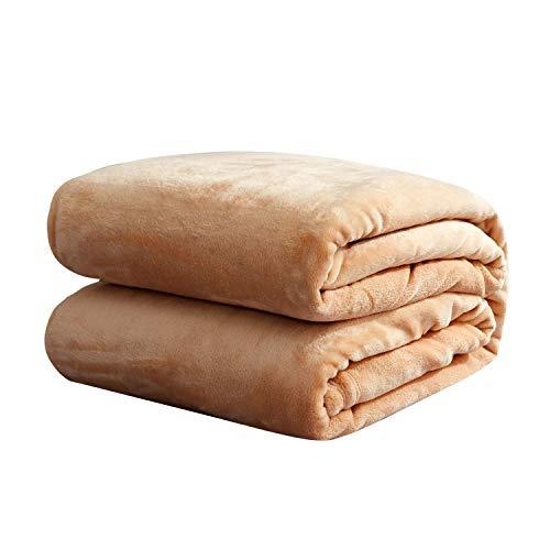 sheltin Luxury 350 GSM Flannel Fleece Blanket Super Soft Warm Lightweight Plush Microfiber Blanket,Throw Size,Camel