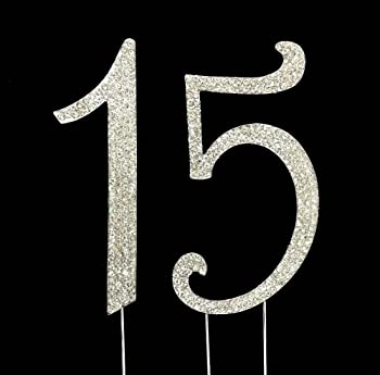 Number 15 for 15th Birthday or Anniversary Cake Topper Party Decoration Supplies, Silver, 4.5 Inches Tall