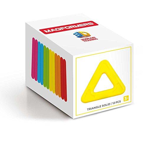 Magformers Triangle Solid (12 Piece) Rainbow Magnetic Building Blocks JungleDealsBlog.com