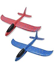 """Glider Plane, 2 Pack 17.5"""" Large Throwing Foam Airplane Toys Manual Circling Functions Aeroplane Gliders Best Outdoor Fun for 3 4 5 6 7 8 Year Old Boys Girls Kids Blue & Red (Color : Multi-colored)"""