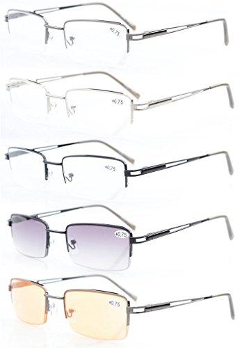 5-pack Eyekepper Rectangle Metal Half-rim Spring Hinges Reading Glasses Include Computer Readers - Less Rim