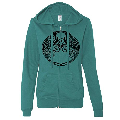 Dual Raven Ladies Fitted Zip-Up Hoodie - Teal Large (What Does Peony Mean)