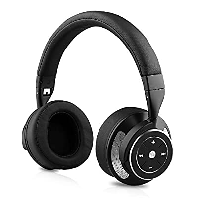 Zinsoko Headphone Active Noise Cancelling Wireless Bluetooth Over-ear Stereo Headphones with Microphone and Volume Control with Charging Cable & Carrying Case for Travel Headset-Black
