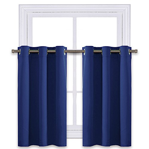NICETOWN Navy Blue Blackout Kitchen Valances - Energy Smart