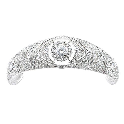Real Austrian Crystals CZ Princess Wedding Bridal Crown Tiara Diadem Hair Accessories Jewelry HG078 ()