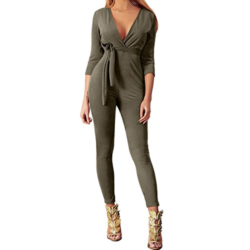 Yizenge Women's Sexy Suede Deep V-Neck 3/4 Sleeve Party Clubwear Romper Jumpsuit With Belt (Large, (Suede Pants Suit)