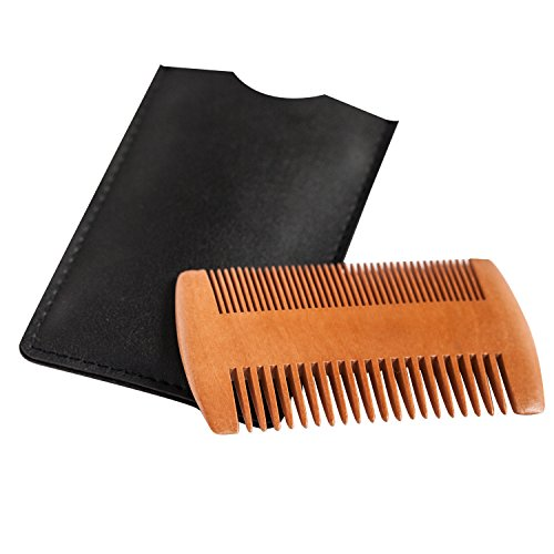 Wooden Beard Comb - Anti-Static Wood Pocket Comb with Fine & Coarse Teeth For Beard Hair & Mustaches