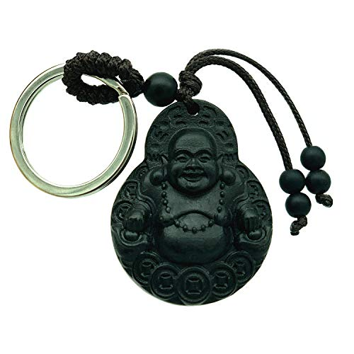 Betterdecor Feng Shui Peach Wood Money Buddha Key Ring for Wealth (with a Pouch)]()