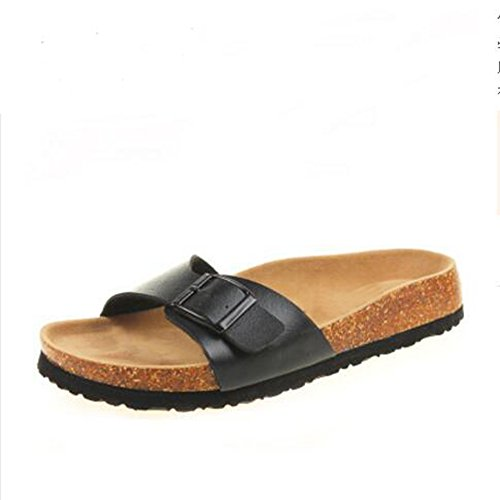 Flip 1 Shoes Flops YaMiFan Sandals On Slip Slippers Slide Strap Sandal Women's Flat Footbed 3 Cork 755wqx6Fnf