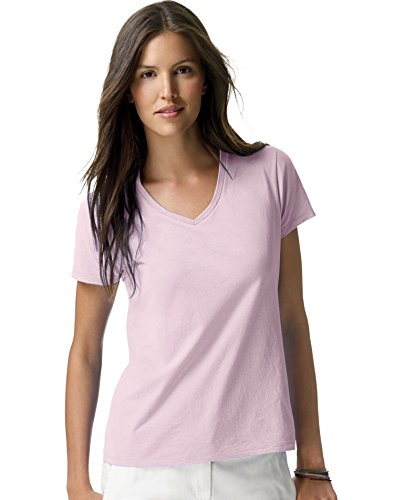 Hanes Ladies Ringspun Cotton Nano-T V-Neck T-Shirt, Pale Pink, XX-Large ()