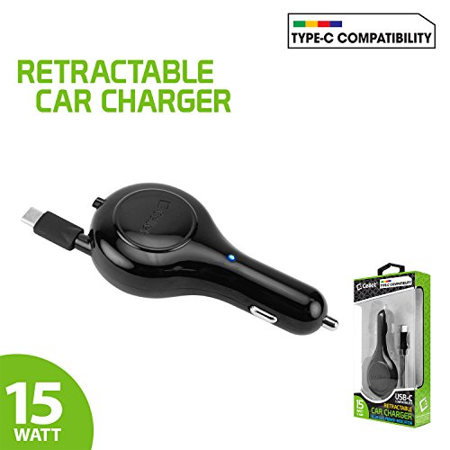 llet Retractable 15 Watt / 3 Amp USB Type-C High Powered Car Charger with 3.3 FT Cable, 1 Touch Release ()