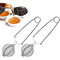 Snap Ball Tea Strainer with Handle for Loose Leaf Tea and Mulling Spices Stainless Steel Strainer Perfect Pincer Tea…