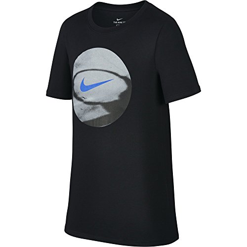 NIKE Boys' Dry Photo Basketball Tee, Black, Large