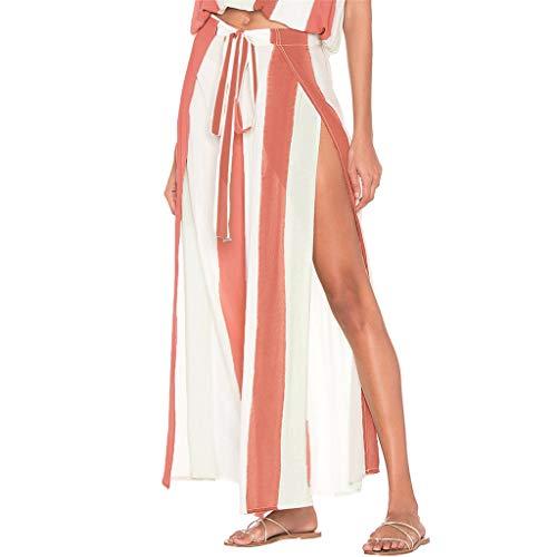 Bamboo Belted Belt - Women's Elegant Striped Split High Waisted Belted Flowy Wide Leg Pink Pants