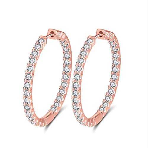 uPrimor Platinum/Gold Plated Hoop Earring Paved with Inside Out Luxury AAA Cubic Zirconia for Ladies, Loop Earrings with Diameter 33mm to 35mm(1.29 to 1.37 inches) (Rose Gold, 35.0)