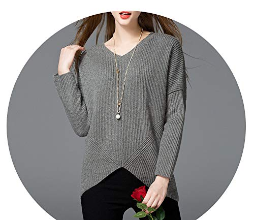 Women's Long Sleeved V Collar Sleeve Head Sweater Sweater Loose Solid Backing,Gray,M