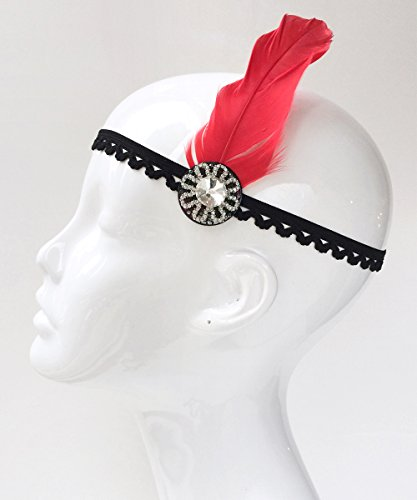 [Gatsby Red Feather and Black Headpiece, Elastic Headband with Rhinestone] (Easy Halloween Costume To Wear To Work)