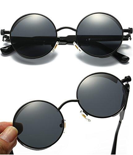 9395146814 Joopin-Round Retro Polaroid Sunglasses Driving Polarized Glasses Men  Steampunk (Black Retro