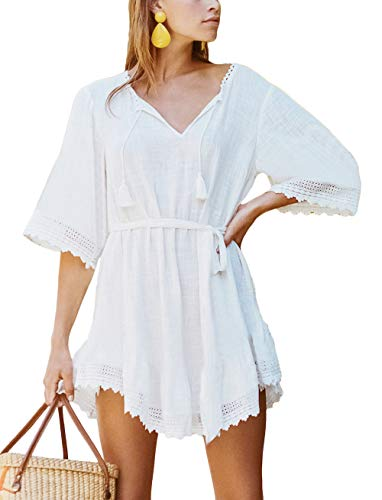 BUTTZO Women Long Sleeve Swimsuit Cover Up Mini Beach Dress (White A, One Size) ()