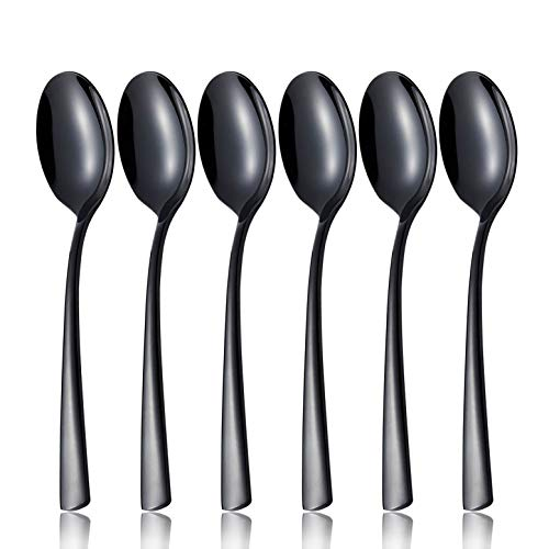 (Dinner Dessert Spoon Set Black 6 Piece 18/8 Stainless Steel 7.6 inch Oval Bowl Bouillon Soup Spoons Service for 6 Silverware Flatware Utensils Dinner Dishwasher Safe Mirror Polished by OMGard)