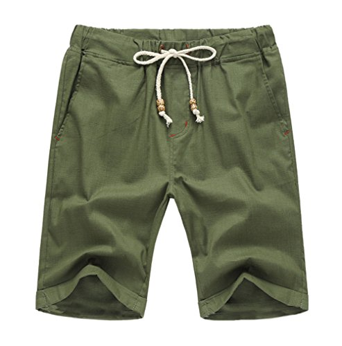 Our Precious Men's Linen and Cotton Casual Classic Fit Short Army Green - Precious Shop