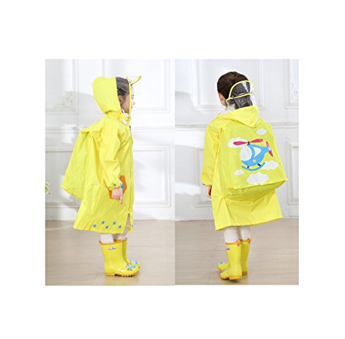 YOUDirect Kids Raincoat - Girl Boy Carton Waterproof Hooded Rain Jacket Lightwight Children's Poncho Teens Rainwear With School Bag Cover (M (Fit 3.44~3.94ft height), Yellow Airplane) (Jacket Yellow Airplane)