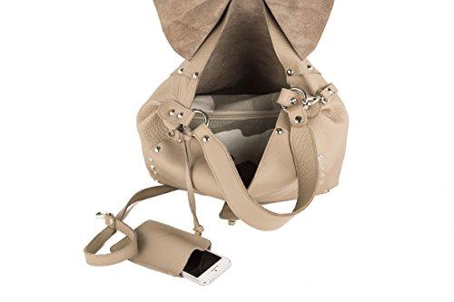 Anna Cecere lisse style hobo en cuir Fabriqué en Italie-Beige-36x 27x 14cm