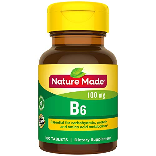 Nature Made Vitamin B6 100 mg Tablets, 100 Count for Metabolic Health† (Packaging May Vary) ()