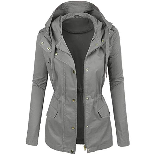 Opinionated Women's Hooded Faux Leather Moto Biker Jacket Ladies Fashionable Plain Color Outwear Overcoat Gray