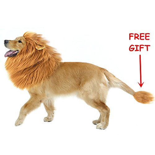 CPPSLEE Halloween Lion Mane Wig Costume - Make Your Dog Lion King - Adjustable Washable Comfortable Fancy Lion Hair Dog Clothes Dress for Halloween (A-Brown with Ear & Tail)]()