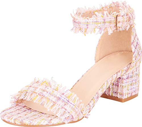 (Cambridge Select Women's Single Band Ankle Strap Frayed Tweed Bouclé Chunky Block Low Heel Sandal,10 B(M) US,Pink)
