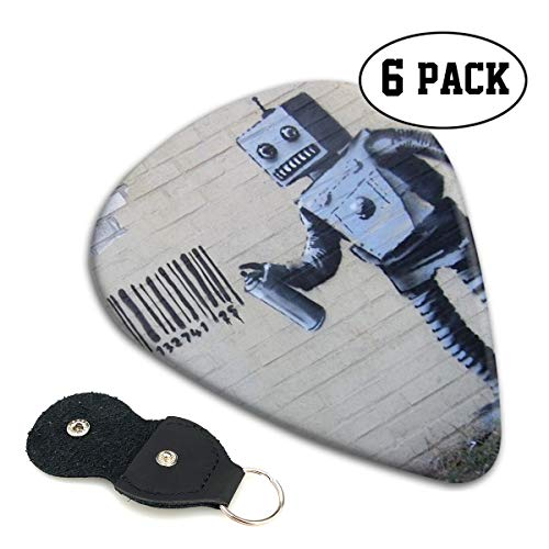 Andromeda Wall Art Robot Premium Funny Thin Light Guitar Picks,6 Pack - Best Stocking Stuffers Gifts For Men Women ()