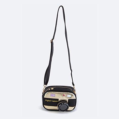 Shoulder Vegan Leather 3D Silver Camera Bag Swing Crossbody HAvI4q
