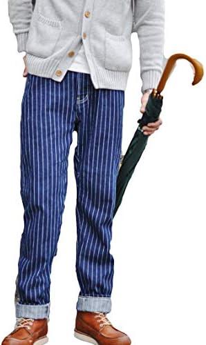 メンズジーンズ ブルーストライプGーパン ウォッシュドジーンズ レトロなズボン アメリカンヴィンテージ