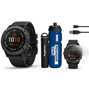 Garmin Fenix 6X Pro Solar (DLC with Black Band) Premium Bundle | Includes Garmin Water Bottle, HD Screen Protectors & PlayBetter Charger | PulseOx, PacePro, Maps, Spotify & Music