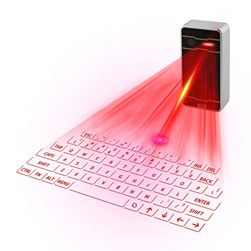 QYLLXSYY Projection Keyboard Bluetooth Mechanical Portable Handheld Virtual Laser Projection Bluetooth Keyboard for Laptop Phone Keyboard (Color : Silver and Gray) (Laser Projection Virtual Keyboard And Touchpad Bluetooth)