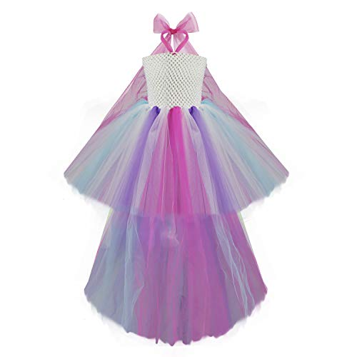 Canvalite 2pcs Girls 1980s Tutu Dress with Hairband, Multilayer Yarn Dress for Carnival