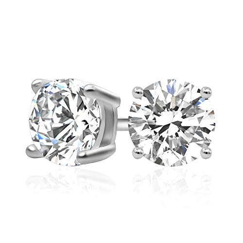 (925 Sterling Silver Cubic Zirconia Classic Basket Prong Set Eternity Stud Earrings, 6mm )