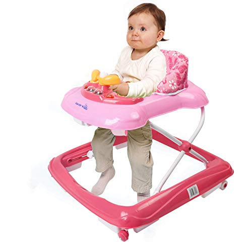 Wonder buggy Baby Walker, Foldable Activity Walkers Helper with Adjustable Height, Baby Activity Walker with Removable Toy Tray (Pink)