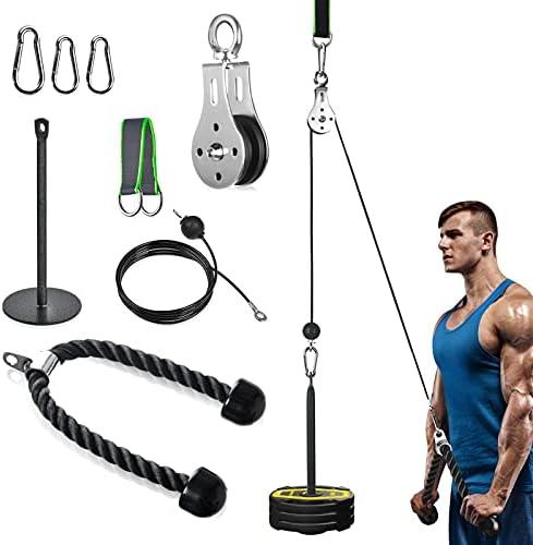 Katrol Kabel Systeem van Fitness voor lat Pulldown en Lift 2m DIY Uitrusting met Handvatten en Laadplaat voor Thuistraining voor Oefeningen van Biceps Triceps Schouder Rugtraining