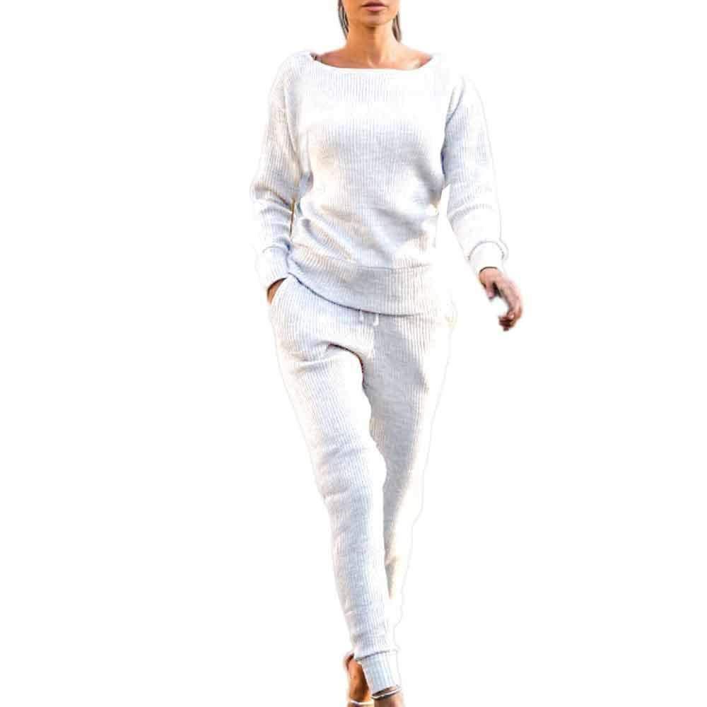 Sfit 2 Pièces Ensemble Femme Survêtement Sports Pull Manche Longue et Pantalon  Gym Yoga Jogging Fitness 17dd8e4804f