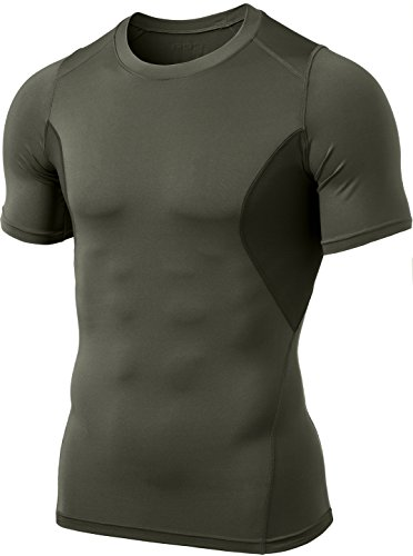 CQ-TUB103-TGN_Small CQR Men's Short-Sleeve Mesh-Side Compression Cool Baselayer Top TUB103 ()