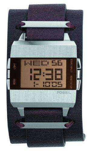 Fossil JR9120 - Reloj digital de cuarzo para hombre con correa de piel, color marrón: Amazon.es: Relojes